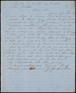 A. J. McElveen, Sumter Court House, S.C., autograph letter signed to Ziba B. Oakes, 20 November 1856