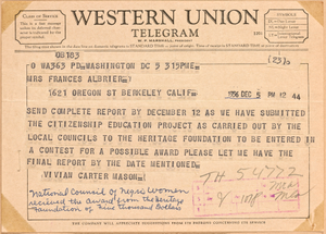 Telegram from NCNW president Vivian Carter Mason to Frances Albrier