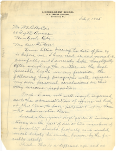 Letter from R. L. Yancey to W. E. B. Du Bois