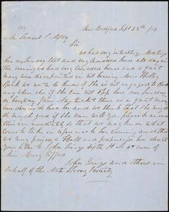 Letter from John Goings, New Bedford, [Massachusetts], to Samuel May, [18]52 Sept[ember] 28th