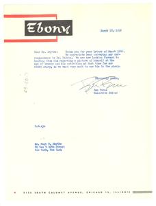 Letter from Ebony Magazine to Hugh H. Smythe