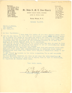 Letter from R. Farley Fisher to W. E. B. Du Bois
