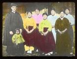 Group portrait of Fr. John E. Morris, MM, and six Korean women, Korea, ca. 1920-1940
