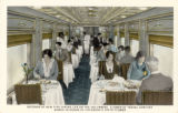 Interior of new type dining car on The Columbine, flower of travel comfort