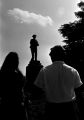 Group standing in the town square near the Confederate monument in Tuskegee, Alabama, during a student demonstration to protest the verdict in the trial of Thomas Coleman, a Lowndes County man who had been charged with the murder of Jonathan Daniels.