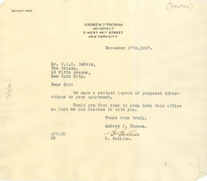 Letter from Andrew J. Thomas to W. E. B. Du Bois