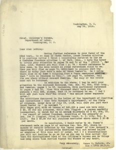 Letter from James C. Waters Jr. to Chief, Children's Bureau, Department of Labor