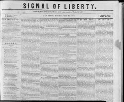 Signal of Liberty newspaper, May 22, 1843 Headline