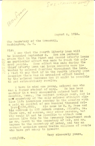 Letter from W. E. B. Du Bois to U.S. Treasury Department