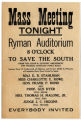 Broadside advertising an anti-women's suffrage event at the Ryman Auditorium