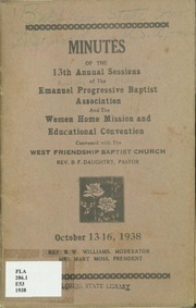 Minutes of the 13th Annual Session of the Emanuel Progressive Baptist Association and the Women Home Mission and Educational Convention