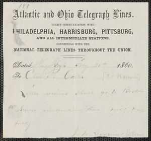 John W. LeBarnes telegram to [Thomas Wentworth Higginson], New York, 20 February 1860