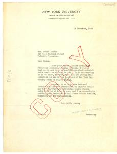 Letter from New York University to Frank Lester