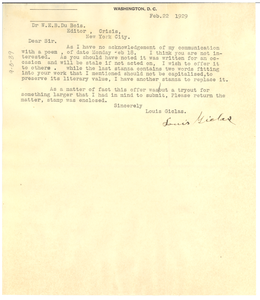 Letter from Louis Giclas to W. E. B. Du Bois