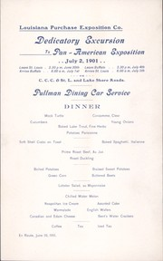 Dinner menu of Pullman Dining Car Service for Dedicatory Excursion to Pan-American Exposition, June 30, 1901