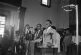 Jesse Jackson speaking at Brown Chapel AME Church in Selma, Alabama, during the 20th anniversary commemoration of the Selma to Montgomery March.