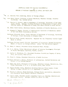 Additional names for possible consideration as members of proposed Committee on Africa and Peace Aims