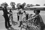 Officer and Students on Bicycle, Los Angeles, 1983