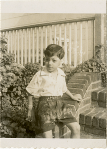 Unidentified boy seated on a porch step