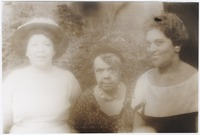 Margaret Bonds, Mrs. Jeffers, and Charlotte Holloman at Nora Holt's party for singers at James Weldon Johnson Memorial Collections founded by Carl Van Vechten in the Yale University Library