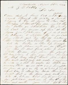 A. J. McElveen, Sumterville, S.C., autograph letter signed to Ziba B. Oakes, 23 August 1854