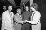 Judge Rose Bird greeting others at the Biltmore Hotel, Los Angeles, 1983