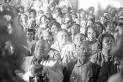 People seated in an audience, probably at First Baptist Church in Eutaw, Alabama.