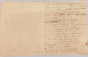 Accounting record for the Rouzee family with notes on hires of enslaved persons