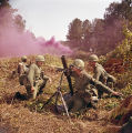 Soldiers practicing with munitions at the U.S. Army training facility at Fort McClellan near Anniston, Alabama.