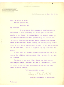 Letter from Mary Roberts Smith to W. E. B. Du Bois