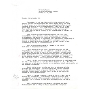 Bi-weekly report Technical assistance project, October 1 - 15, 1976.
