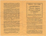 """""""Reply to the Anomymous [sic] 'Protest Against Woman's Suffrage in Alabama.'"""""""