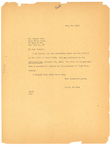 Letter from W. E. B. Du Bois to Blue Heron Press