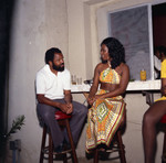 Judy Pack Flood and Berry Gordy at his house party, Los Angeles