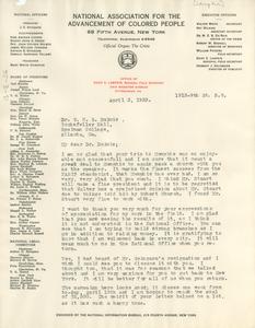 Letter from Daisy Lampkin to W. E. B. Du Bois