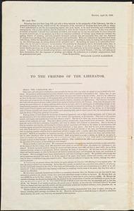 Letter from William Lloyd Garrison, Boston, [Mass.], to Ebenezer Dole, April 15, 1834