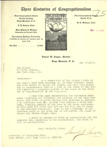 Letter from Samuel W. Sawyer to Crisis