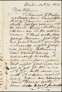 Letter from Henry Clarke Wright, Boston, [Massachusetts], to William Lloyd Garrison, 1853 Oct[ober] 20