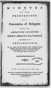 Minutes of Proceedings of a Convention of Delegates from the Abolition Societies, Title page Philadelphia: Zachariah Poulson, 1794