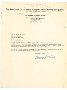 Letter from Association for the Study of Negro Life and History to W. E. B. Du Bois