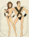 Costume design drawing, topless female and male performers, Las Vegas, June 5, 1980
