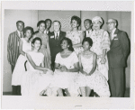 Little Rock Nine and friends at NAACP's 49th annual convention in Cleveland, left to right, standing: Terrence Roberts, Thelma Mothershed, Gloria Ray, Jefferson Thomas, Kivie Kaplan, Minnijean Brown, Ernest Green, Mrs. L.C. Bates, Dr. James E. Levy; seated, Carlotta Walls, Melba Patillo and Elizabeth Eckford