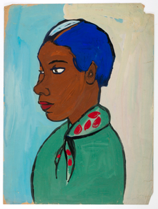 Bust of Woman with Blue Hair and Green and Red Scarf
