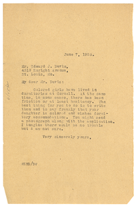 Letter from W. E. B. Du Bois to Edward J. Davis