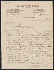 William Everts Benjamin autograph letter signed to Thomas Wentworth Higginson, New York, 14 November 1898