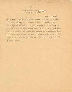 Memorandum from W. E. B. Du Bois to G. Greene Lanier