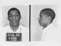 Mississippi State Sovereignty Commission photograph of Jerome M. [sic] Smith following his arrest for his participation in the Freedom Rides, Jackson, Mississippi, 1961 May 25