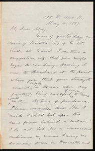 Letter from Oliver Johnson, [New York], to Samuel May, May 4, 1887