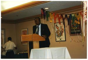 Older Man Delivering Speech at Service to Youth Award Program San Antonio Chapter of Links Records