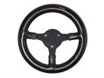 Steering wheel taken from the Black American Racers, Inc. Formula Super Vee, Lola T-234 race car
